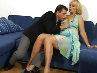 Grandma giving handjob - Grandma gives a hot blowjob then lets him pound her pussy