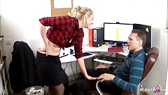 German College Teen Seduce to Fuck in Office by Boss at Work