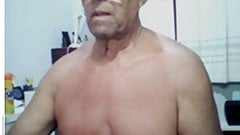60 year old brazilian daddy showing his black cock on webcam