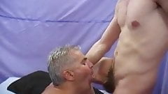Older daddy waiting patiently for younger man to cum in his