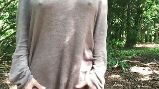 Shy 18 year old Sri Lankan girl flashing in jungle