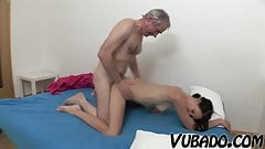 SLIM BRUNETTE FUCKED BY AN OLD MAN !!