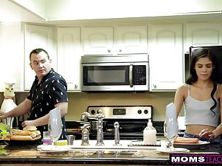 Mom fucked while cooking dinner vids Horny wife makes step daughter share cock while dad cooks