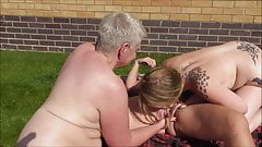 Lesbian outdoor threesome
