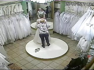 Vintage ivory wedding dresses - Spy camera in the salon of wedding dresses 7 sorry no sound