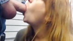 Coworker sucks cock at work