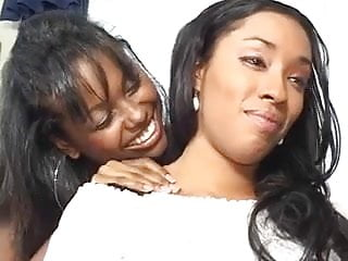 Lesbian ebony Lesbian ebony chick with big natural tits gets fingered