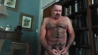 Nasty Hairy Daddy Jacks into a condom