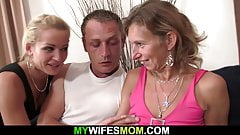 Wife watches slim mother riding his cock