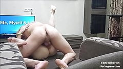 Fucking a cute Asian Teen on the couch and cumming on her