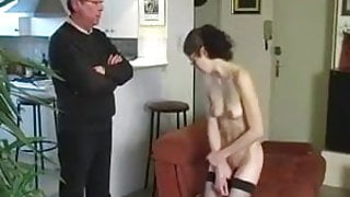 CMNF housmaid stripped naked and punished for masturbating