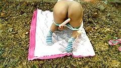 milf maid outdoor public self dildo fucking  wet pussy