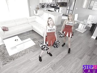 Make me cum multi Cheerleading stepsis and bff make me cum on their pom poms
