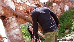 Naughty babe gets fucked on some rocks