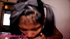 Thai Teen Heather Deep gives deepthroat throatpie