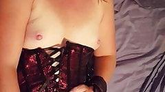 Blindfolded wife tiedup