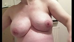Pregnant Danish wife undressing her heavy tits