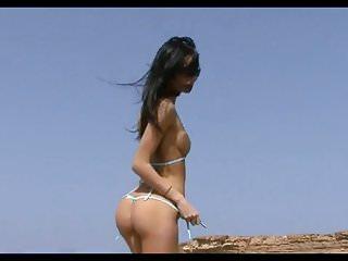 Drabinova bikini pleasure Bikini pleasure-black hair girl blue bikini