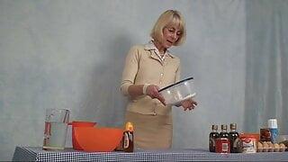Hazel. prepares a very sexy small kitchen recipe