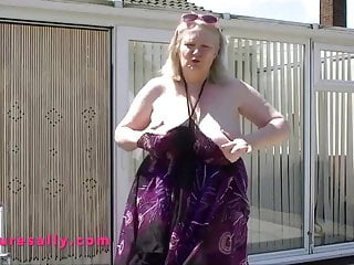 Sally field showing her tits Its a sunny day sally gets her big tits out in the garden