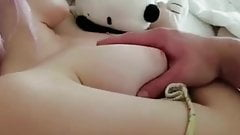 She gets fucked from behind and filled with cum