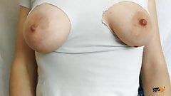 Ripped clothes to suck natural big tits. Horny nipples