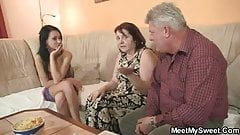 Dirty fossils fuck her as he leaves