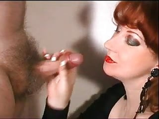Red lipstick sex Mature redhead wearing red lipstick and sucking cock