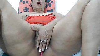 Chubby granny in webcam