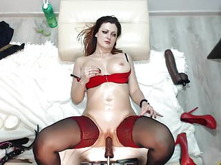 She smashed the rearview mirror with her fist Machine over fucked her, she needed a break