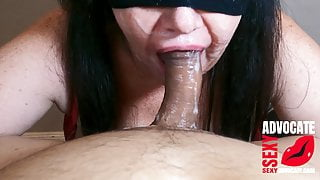 Sucking cock after he already blasted his load on my face