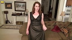 Cute American housewife playing with herself