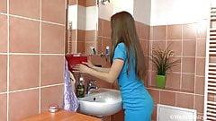 Cute hairy Gretta in morning shower