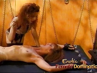 Tied up pleasure Slutty bitch gets tied down and has her pussy pleasured with