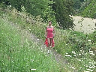 Pee in drano Brooke - public play and pee in her pink dress