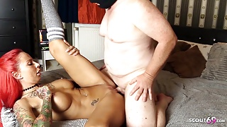 Ugly Fat Guy Fucks German Redhead Teen Hooker and Gets HJ Finish