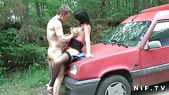 French mature with big tits hard anal fucked outdoor