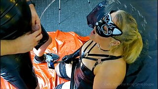 latex bitch soaked in nasty piss and throated part 2