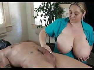 Huge boob handjob Huge boobs girl gives a handjob