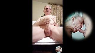 Old man whit huge cock eyaculation