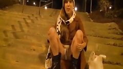 Sweet young girl in hot scene of public exhibitionist
