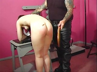 Over daddys lap barebottom spanked diapered Horny master puts his slave on his lap and spanks her