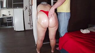 Mom in red thongs let her stepson fuck her ass
