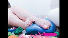 Feet balloon torture... and POP
