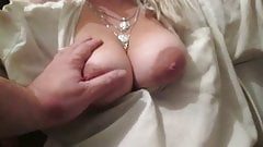 Touching her big tits in a blouse