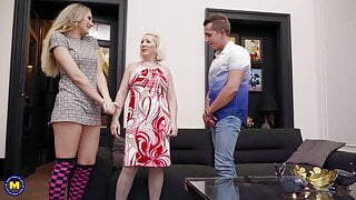 Mature stepma joins young couple