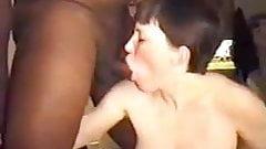 pregnant lady in a black threesome