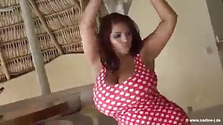 Big breasted lady dancing and shaking those breast