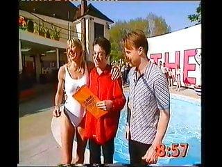 Sharon davies upskirt Sharon davies white swimsuit, nip-on