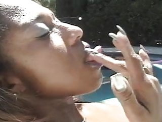 Sexy lesbians muffdiving - Sexy ebony muffdivers by the pool...usb